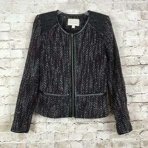 Hinge Small Blazer Suit Jacket Tweed Faux Leather